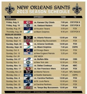 Saints Schedule 2013