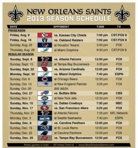 Saints Schedule 2013